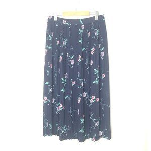 The Villager   Floral Pleated Vintage Maxi Skirt M